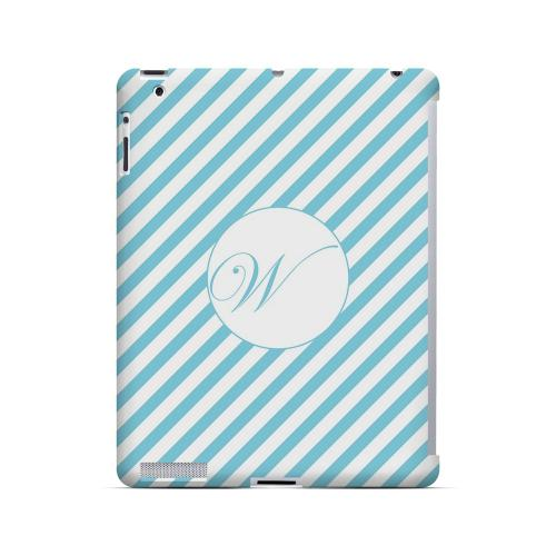 Calligraphy W on Mint Slanted Stripes - Geeks Designer Line Monogram Series Hard Case for Apple iPad (3rd & 4th Gen.)