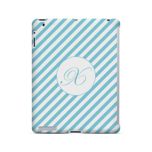 Calligraphy X on Mint Slanted Stripes - Geeks Designer Line Monogram Series Hard Case for Apple iPad (3rd & 4th Gen.)