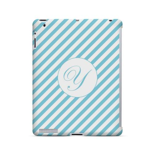 Calligraphy Y on Mint Slanted Stripes - Geeks Designer Line Monogram Series Hard Case for Apple iPad (3rd & 4th Gen.)
