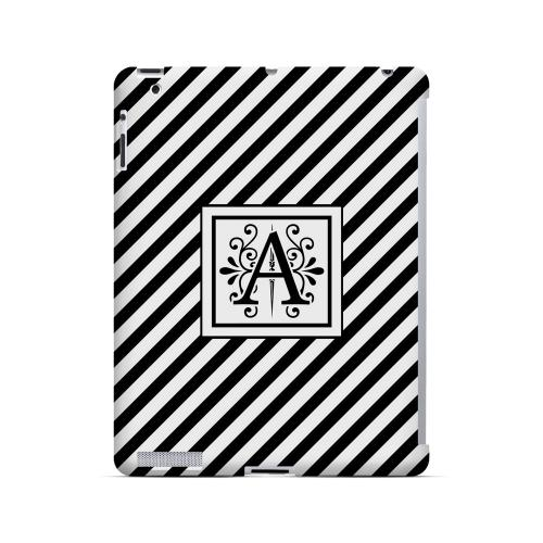 Vintage Vine A On Black Slanted Stripes - Geeks Designer Line Monogram Series Hard Case for Apple iPad (3rd & 4th Gen.)