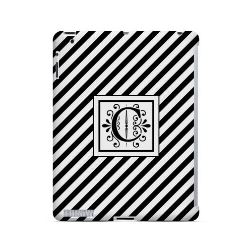 Vintage Vine C On Black Slanted Stripes - Geeks Designer Line Monogram Series Hard Case for Apple iPad (3rd & 4th Gen.)