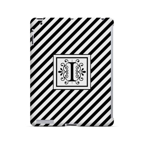 Vintage Vine I On Black Slanted Stripes - Geeks Designer Line Monogram Series Hard Case for Apple iPad (3rd & 4th Gen.)