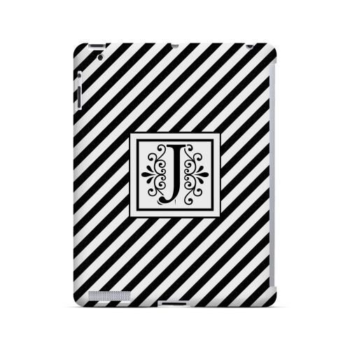 Vintage Vine J On Black Slanted Stripes - Geeks Designer Line Monogram Series Hard Case for Apple iPad (3rd & 4th Gen.)
