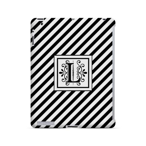 Vintage Vine L On Black Slanted Stripes - Geeks Designer Line Monogram Series Hard Case for Apple iPad (3rd & 4th Gen.)