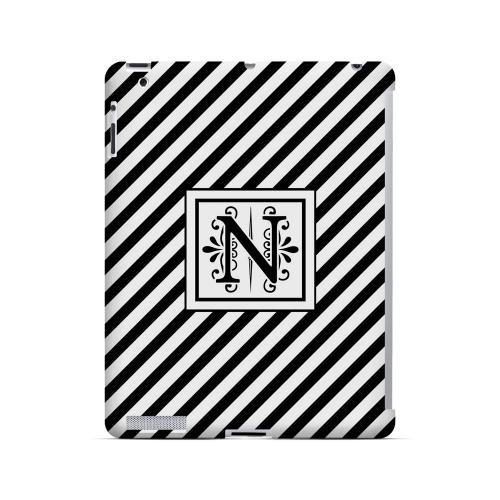 Vintage Vine N On Black Slanted Stripes - Geeks Designer Line Monogram Series Hard Case for Apple iPad (3rd & 4th Gen.)