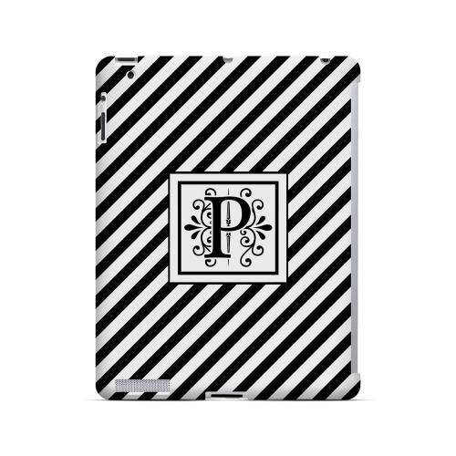 Vintage Vine P On Black Slanted Stripes - Geeks Designer Line Monogram Series Hard Case for Apple iPad (3rd & 4th Gen.)