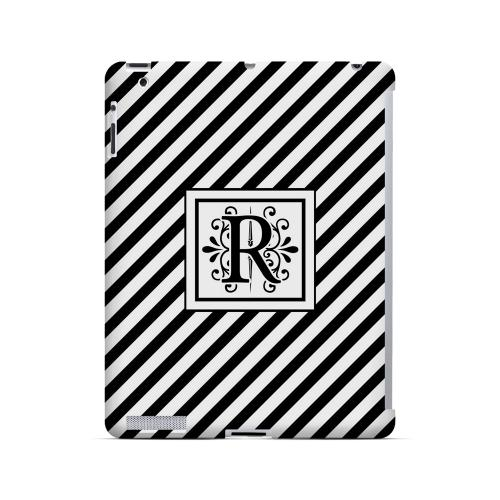Vintage Vine R On Black Slanted Stripes - Geeks Designer Line Monogram Series Hard Case for Apple iPad (3rd & 4th Gen.)