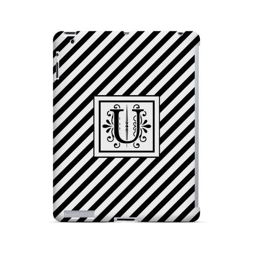 Vintage Vine U On Black Slanted Stripes - Geeks Designer Line Monogram Series Hard Case for Apple iPad (3rd & 4th Gen.)