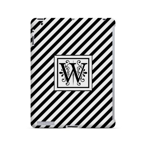 Vintage Vine W On Black Slanted Stripes - Geeks Designer Line Monogram Series Hard Case for Apple iPad (3rd & 4th Gen.)