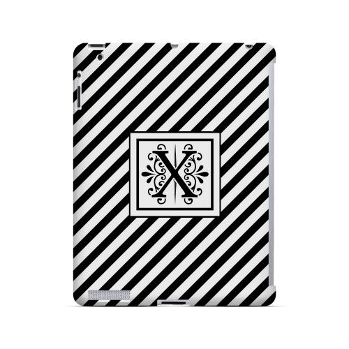 Vintage Vine X On Black Slanted Stripes - Geeks Designer Line Monogram Series Hard Case for Apple iPad (3rd & 4th Gen.)