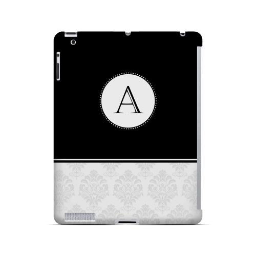 Black A w/ White Damask Design - Geeks Designer Line Monogram Series Hard Case for Apple iPad (3rd & 4th Gen.)
