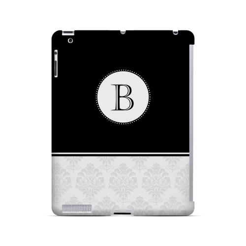Black B w/ White Damask Design - Geeks Designer Line Monogram Series Hard Case for Apple iPad (3rd & 4th Gen.)