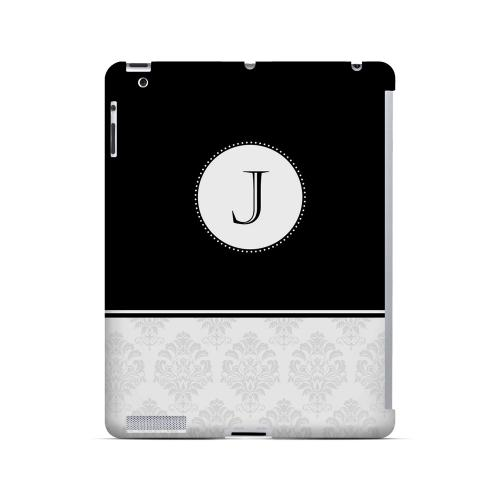 Black J w/ White Damask Design - Geeks Designer Line Monogram Series Hard Case for Apple iPad (3rd & 4th Gen.)