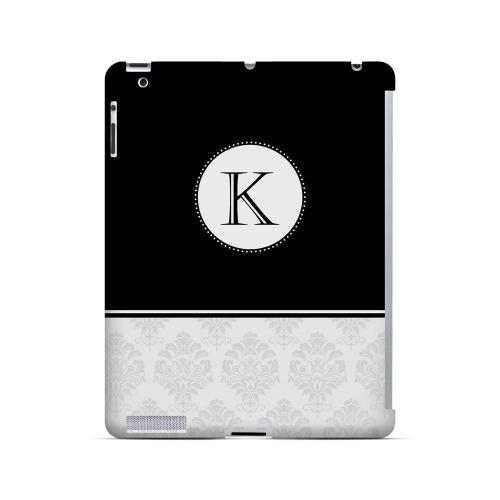 Black K w/ White Damask Design - Geeks Designer Line Monogram Series Hard Case for Apple iPad (3rd & 4th Gen.)