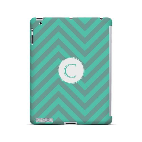 Seafoam Green C on Zig Zags - Geeks Designer Line Monogram Series Hard Case for Apple iPad (3rd & 4th Gen.)