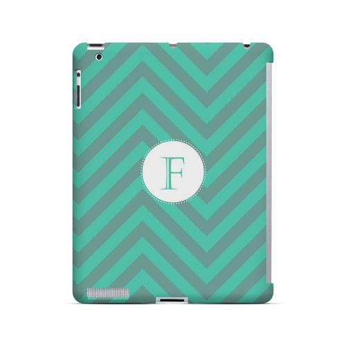 Seafoam Green F on Zig Zags - Geeks Designer Line Monogram Series Hard Case for Apple iPad (3rd & 4th Gen.)