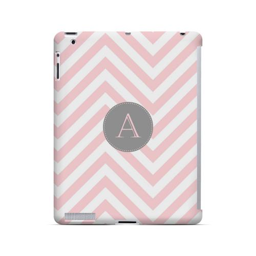 Gray Button A on Pale Pink Zig Zags - Geeks Designer Line Monogram Series Hard Case for Apple iPad (3rd & 4th Gen.)