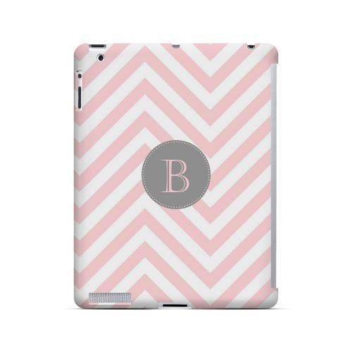 Gray Button B on Pale Pink Zig Zags - Geeks Designer Line Monogram Series Hard Case for Apple iPad (3rd & 4th Gen.)