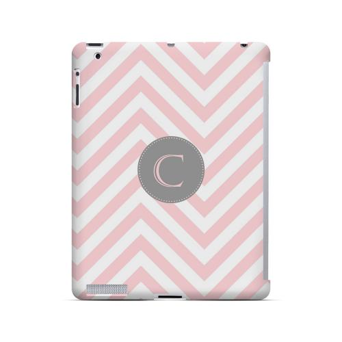 Gray Button C on Pale Pink Zig Zags - Geeks Designer Line Monogram Series Hard Case for Apple iPad (3rd & 4th Gen.)