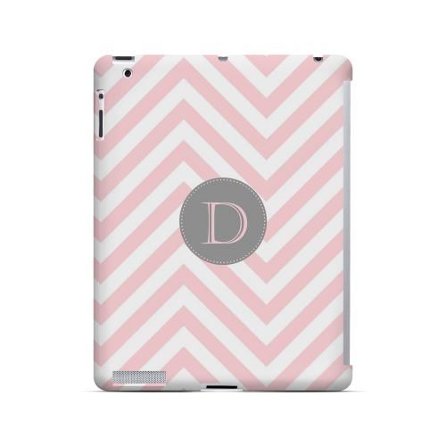 Gray Button D on Pale Pink Zig Zags - Geeks Designer Line Monogram Series Hard Case for Apple iPad (3rd & 4th Gen.)