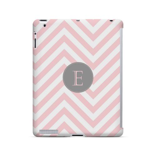 Gray Button E on Pale Pink Zig Zags - Geeks Designer Line Monogram Series Hard Case for Apple iPad (3rd & 4th Gen.)