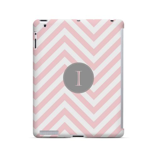 Gray Button I on Pale Pink Zig Zags - Geeks Designer Line Monogram Series Hard Case for Apple iPad (3rd & 4th Gen.)