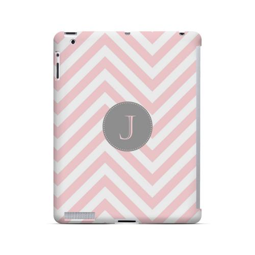 Gray Button J on Pale Pink Zig Zags - Geeks Designer Line Monogram Series Hard Case for Apple iPad (3rd & 4th Gen.)