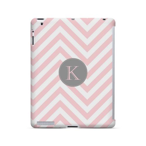 Gray Button K on Pale Pink Zig Zags - Geeks Designer Line Monogram Series Hard Case for Apple iPad (3rd & 4th Gen.)
