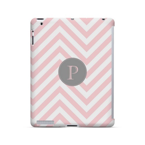 Gray Button P on Pale Pink Zig Zags - Geeks Designer Line Monogram Series Hard Case for Apple iPad (3rd & 4th Gen.)