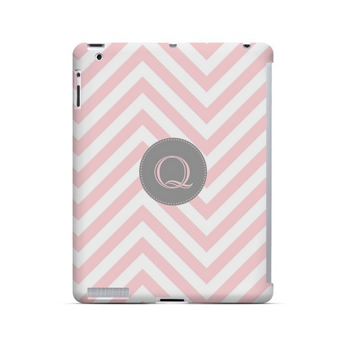 Gray Button Q on Pale Pink Zig Zags - Geeks Designer Line Monogram Series Hard Case for Apple iPad (3rd & 4th Gen.)