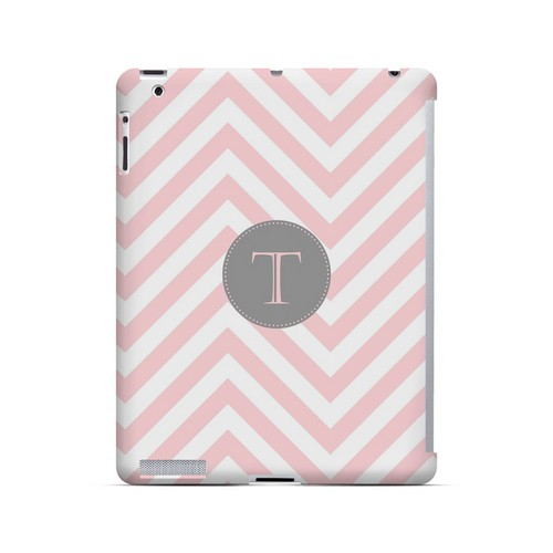 Gray Button T on Pale Pink Zig Zags - Geeks Designer Line Monogram Series Hard Case for Apple iPad (3rd & 4th Gen.)
