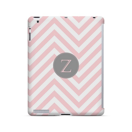 Gray Button Z on Pale Pink Zig Zags - Geeks Designer Line Monogram Series Hard Case for Apple iPad (3rd & 4th Gen.)