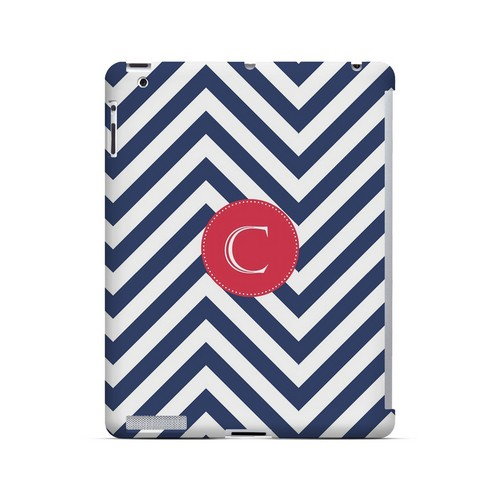 Cherry Button C on Navy Blue Zig Zags - Geeks Designer Line Monogram Series Hard Case for Apple iPad (3rd & 4th Gen.)