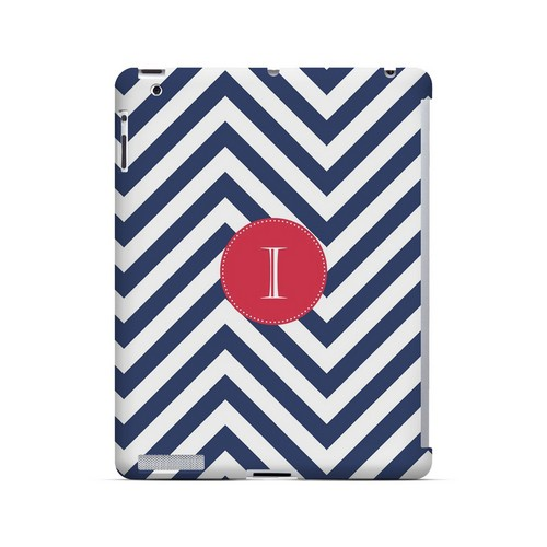 Cherry Button I on Navy Blue Zig Zags - Geeks Designer Line Monogram Series Hard Case for Apple iPad (3rd & 4th Gen.)