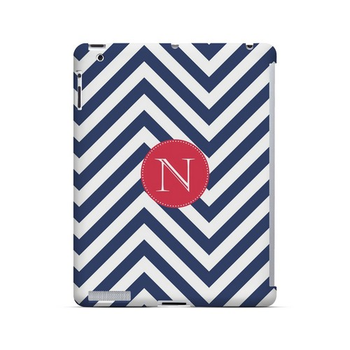 Cherry Button N on Navy Blue Zig Zags - Geeks Designer Line Monogram Series Hard Case for Apple iPad (3rd & 4th Gen.)