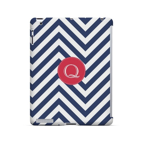 Cherry Button Q on Navy Blue Zig Zags - Geeks Designer Line Monogram Series Hard Case for Apple iPad (3rd & 4th Gen.)