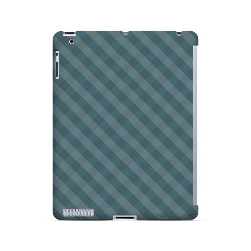 Blue/ Green/ White/ Gray Plaid - Geeks Designer Line Checker Series Hard Case for Apple iPad (3rd & 4th Gen.)