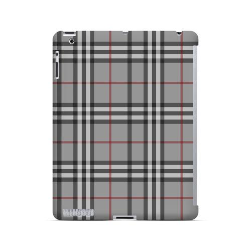 Classic Gray/ White/ Red Plaid - Geeks Designer Line Checker Series Hard Case for Apple iPad (3rd & 4th Gen.)