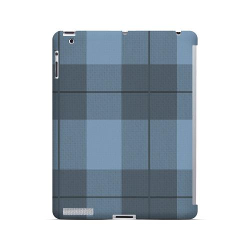 Off-Centered Zoom Blue Plaid - Geeks Designer Line Checker Series Hard Case for Apple iPad (3rd & 4th Gen.)