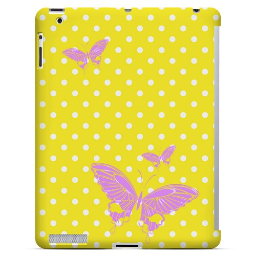 Pink Butterfly on White Polka Dots - Geeks Designer Line Spring Series Hard Case for Apple iPad (3rd & 4th Gen.)