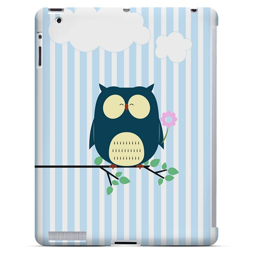 Fat Peaceful Owl on Tree Branch - Geeks Designer Line Owl Series Hard Case for Apple iPad (3rd & 4th Gen.)