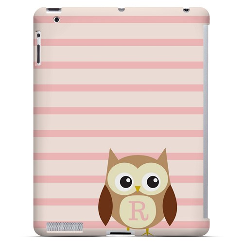 Brown Owl Monogram R on Pink Stripes - Geeks Designer Line Owl Series Hard Case for Apple iPad (3rd & 4th Gen.)