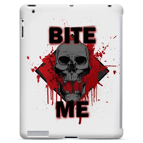 Bite Me on White - Geeks Designer Line Apocalyptic Series Hard Case for Apple iPad (3rd & 4th Gen.)