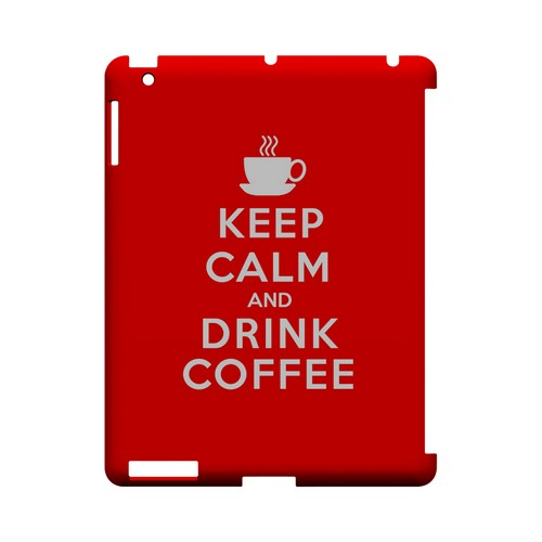Red Drink Coffee Geeks Designer Line Keep Calm Series Slim Hard Case for Apple iPad (3rd & 4th Gen.)