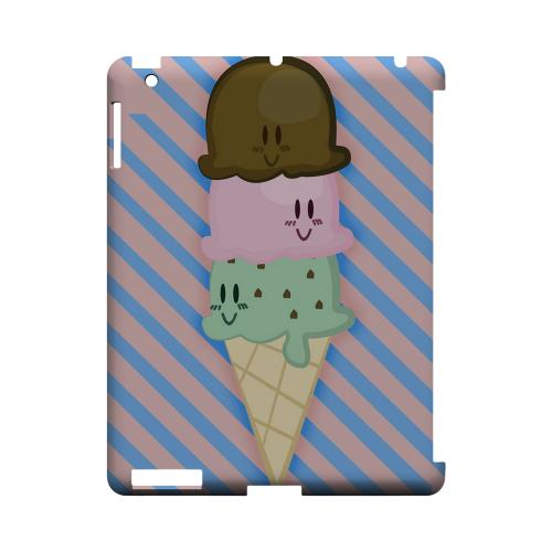 Triple Scoop Ice Cream Cone Geeks Designer Line Candy Series Slim Hard Back Cover for Apple iPad (3rd & 4th Gen.)