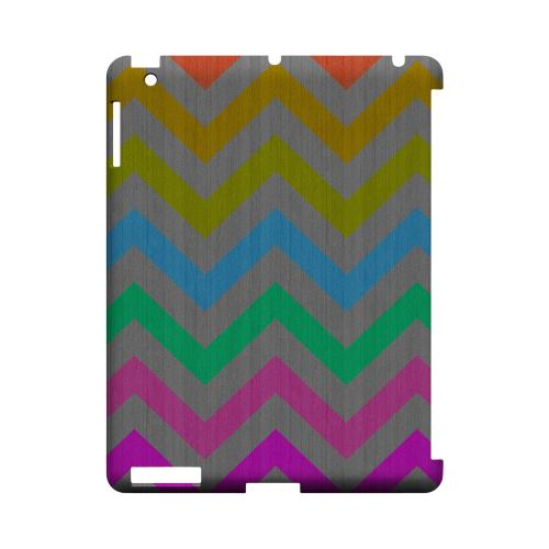 Grungy Multi-Colors on Gray Geeks Designer Line Zig Zag Series Slim Hard Case for Apple iPad (3rd & 4th Gen.)
