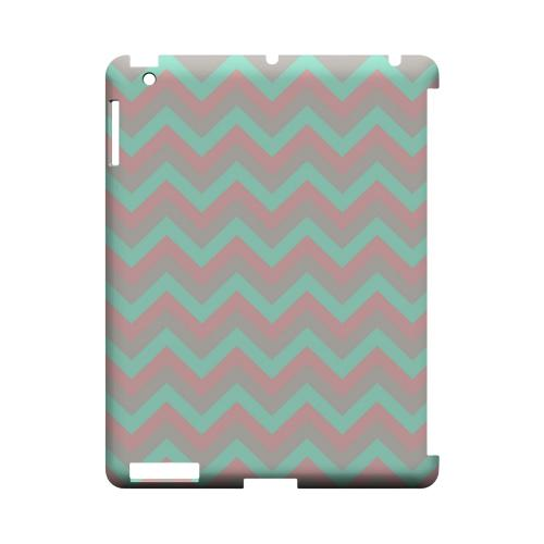 Green on Pink on Gray Geeks Designer Line Zig Zag Series Slim Hard Case for Apple iPad (3rd & 4th Gen.)