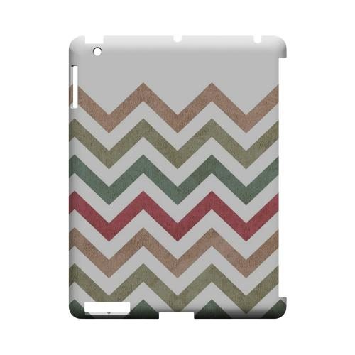 Grungy Green/ Red on White Geeks Designer Line Zig Zag Series Slim Hard Case for Apple iPad (3rd & 4th Gen.)