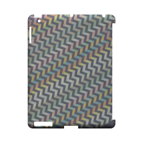 Grungy Pastel Steps Geeks Designer Line Zig Zag Series Slim Hard Case for Apple iPad (3rd & 4th Gen.)