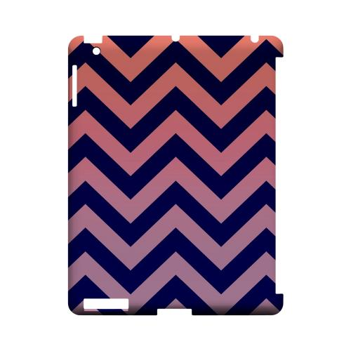 Pink/ Navy Blue Gradient Geeks Designer Line Zig Zag Series Slim Hard Case for Apple iPad (3rd & 4th Gen.)